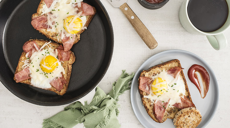 Bacon and Swiss Egg Toasts