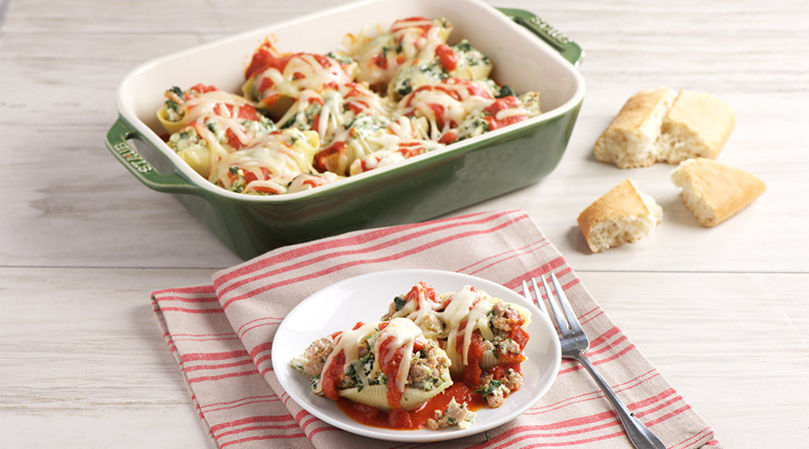 Sausage and Spinach Stuffed Pasta Shells