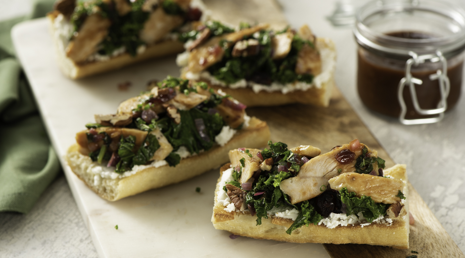 Sautéed Kale and Turkey Toasts