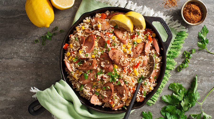 Smoky Cajun-Style Turkey Sausage and Corn Rice