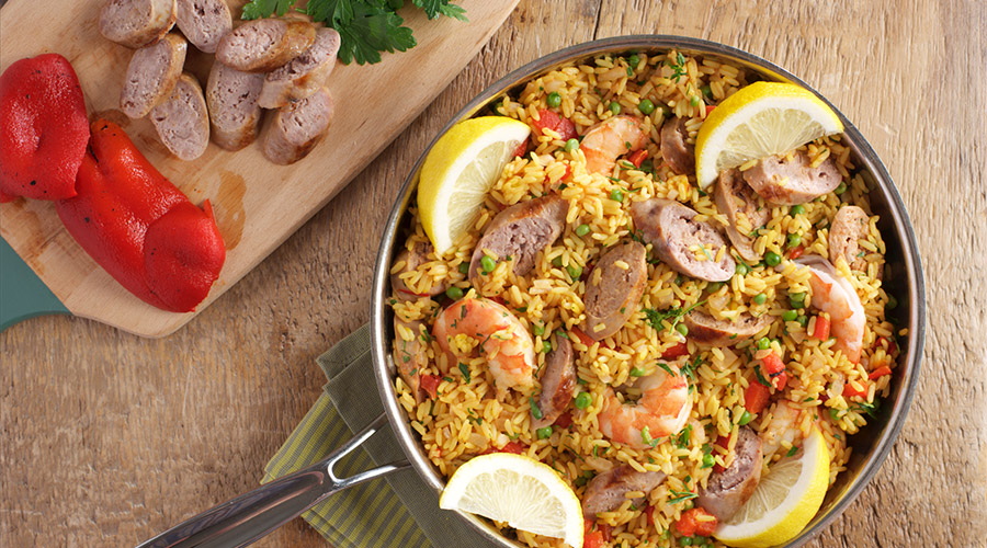 Spanish Style Rice with Sausage and Shrimp