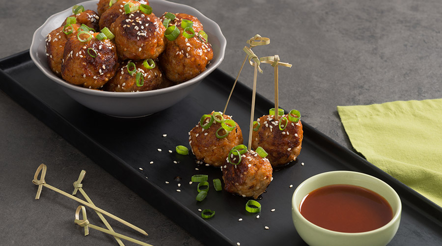 Turkey Meatballs with Sriracha and Honey Glaze