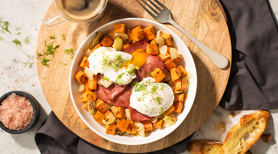 Turkey Bacon and Eggs with Sweet Potato and Fennel Hash