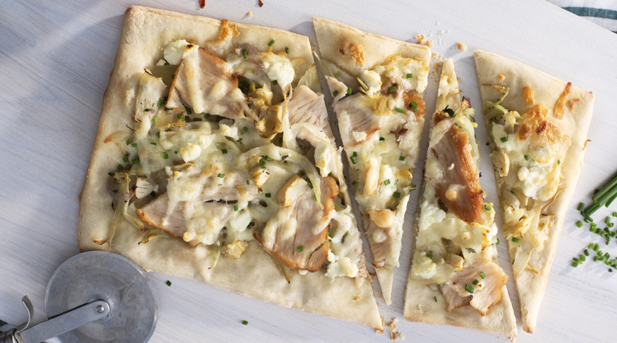 Herbed Fennel, Goat Cheese and Turkey Flatbread