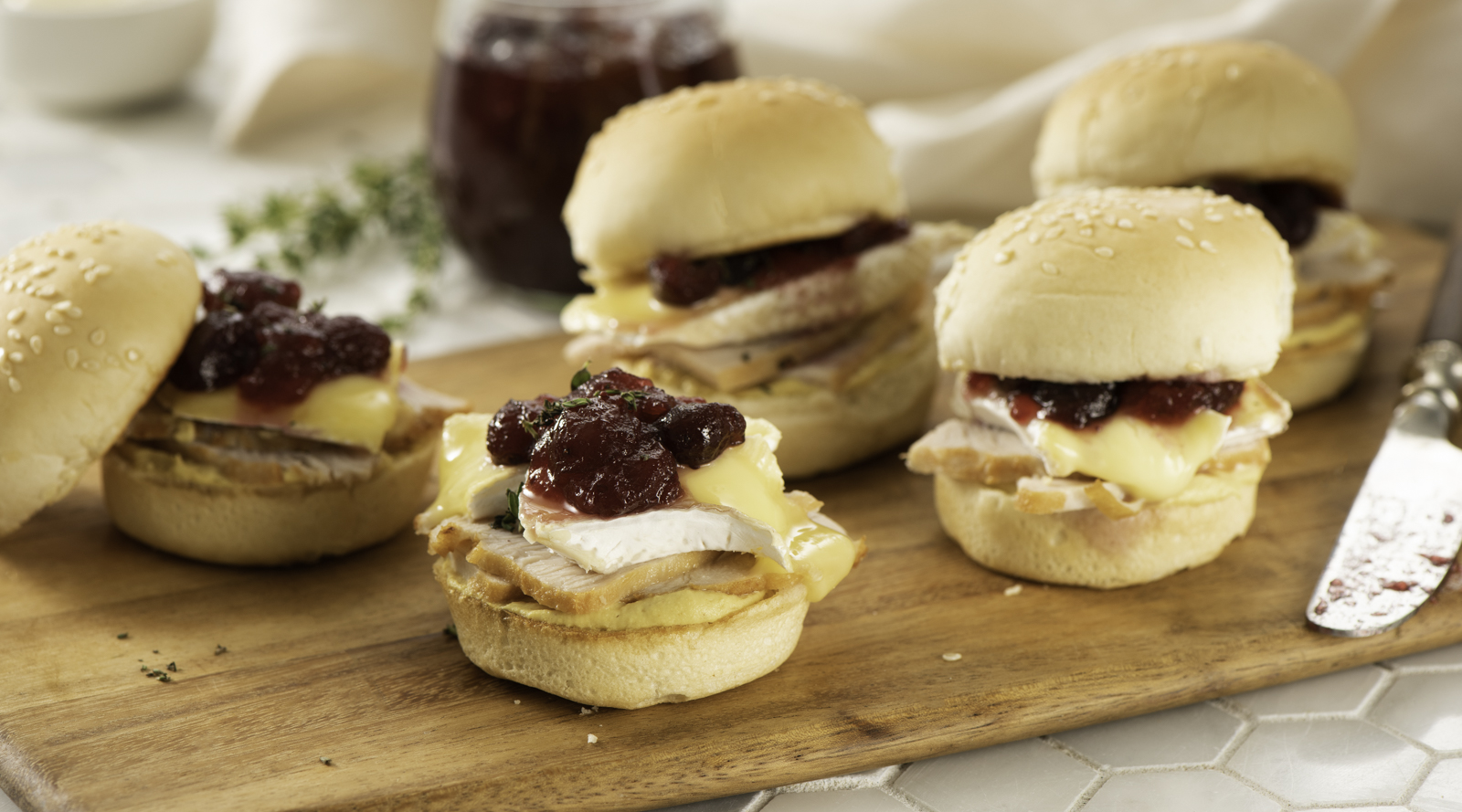 Baked Brie and Turkey Sliders