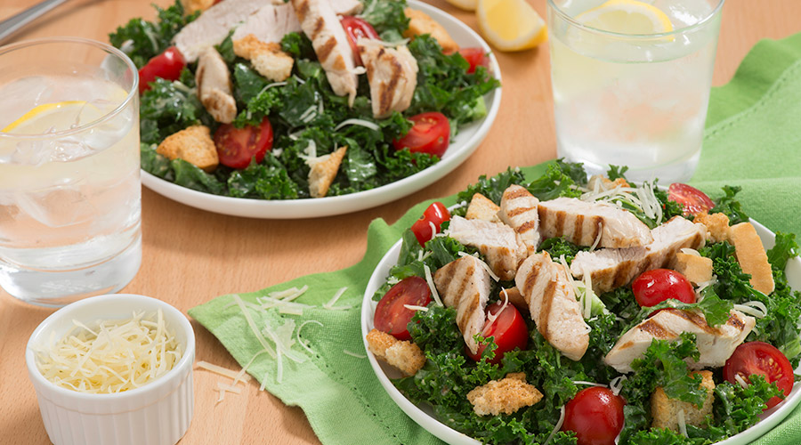 Kale Caesar Salad with Grilled Turkey