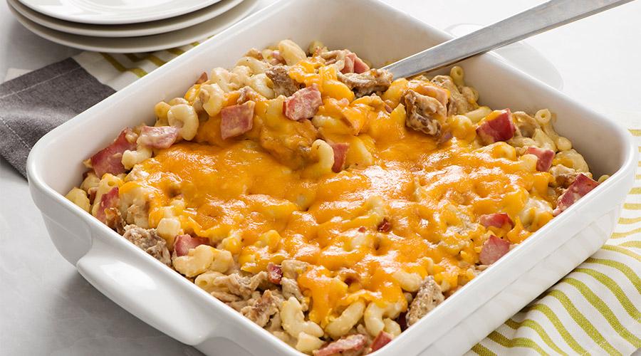 Macaroniaufromage, au bacon et à la dinde